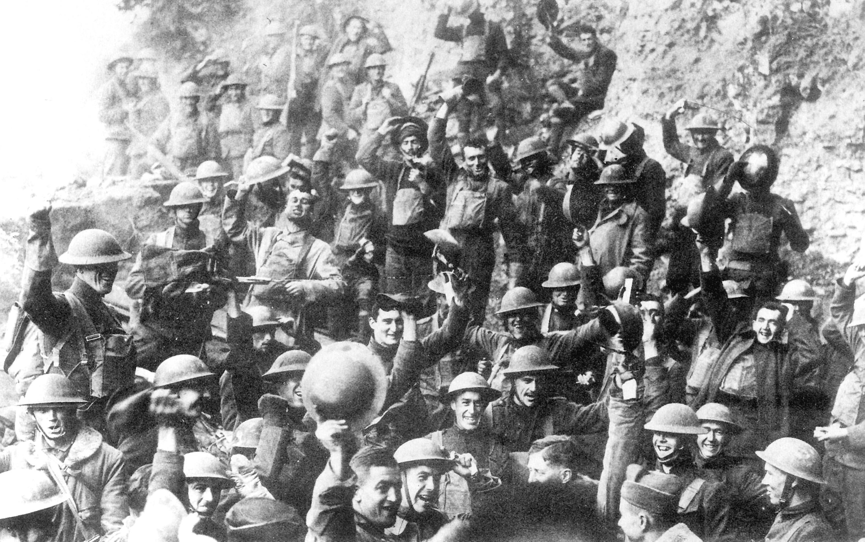 US_64th_regiment_celebrate_the_Armistice